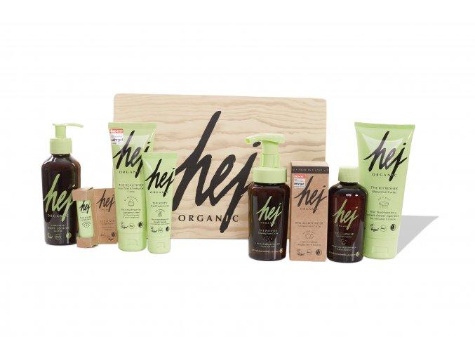 Hej Organic dárková dřevěná krabice plná kosmetiky