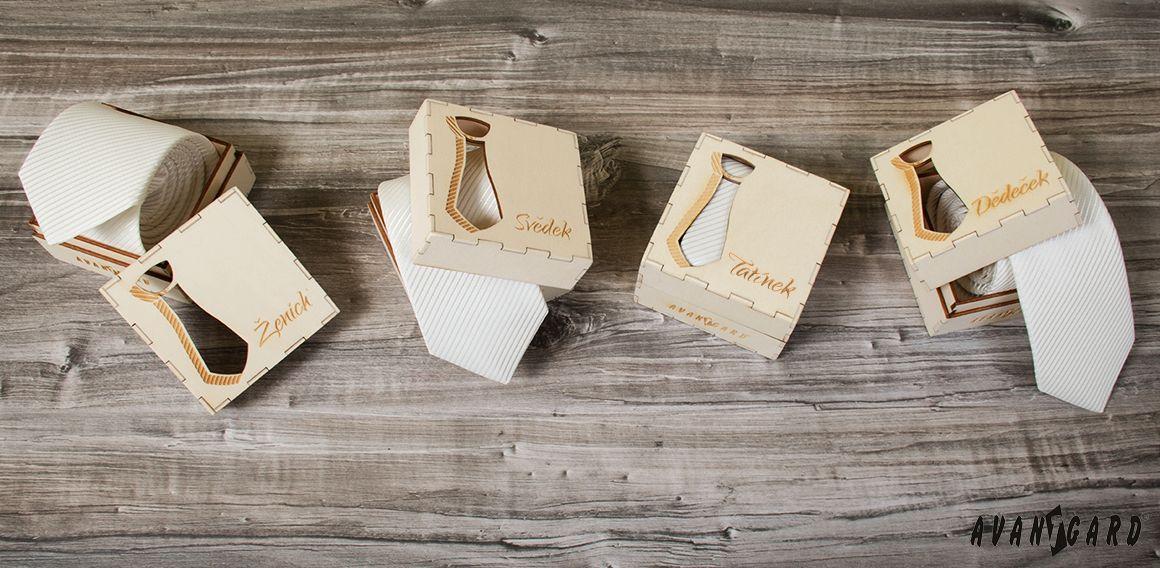 Dřevěné dárkové krabičky na kravaty, ženich, svědek, tatínek, dědeček