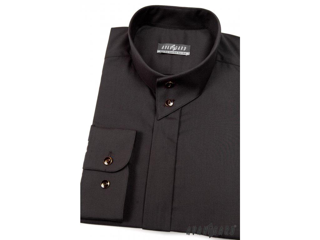 34e8a6ba414 Černá pánská košile se stojáčkem na 2 knoflíky