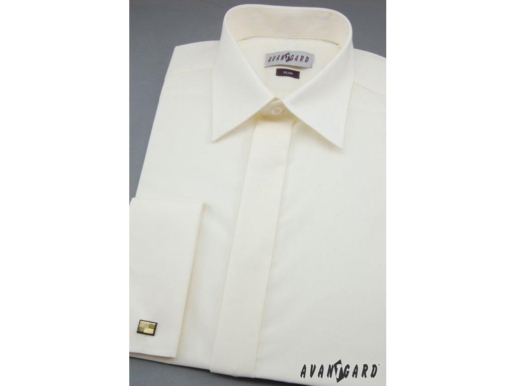 Pánská košile SLIM MK s krytou légou 116-2 V2-smetanová (Barva V2 3c8243ba67