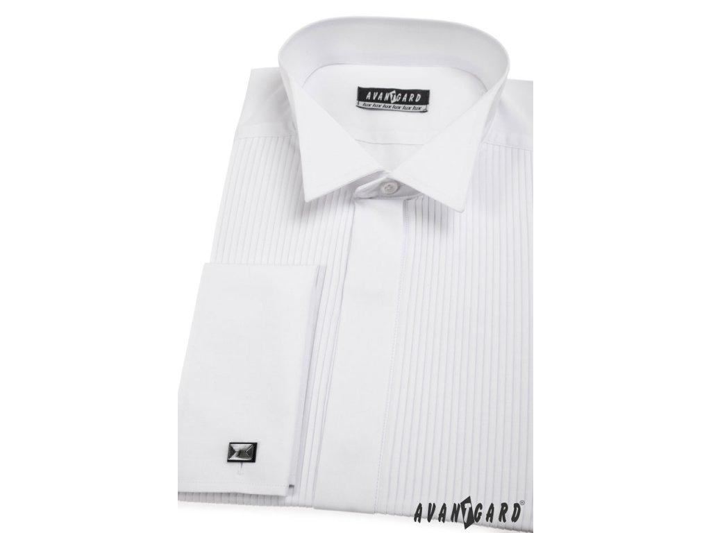 Pánská bílá košile s plisováním - FRAKOVKA 7488e99e0d
