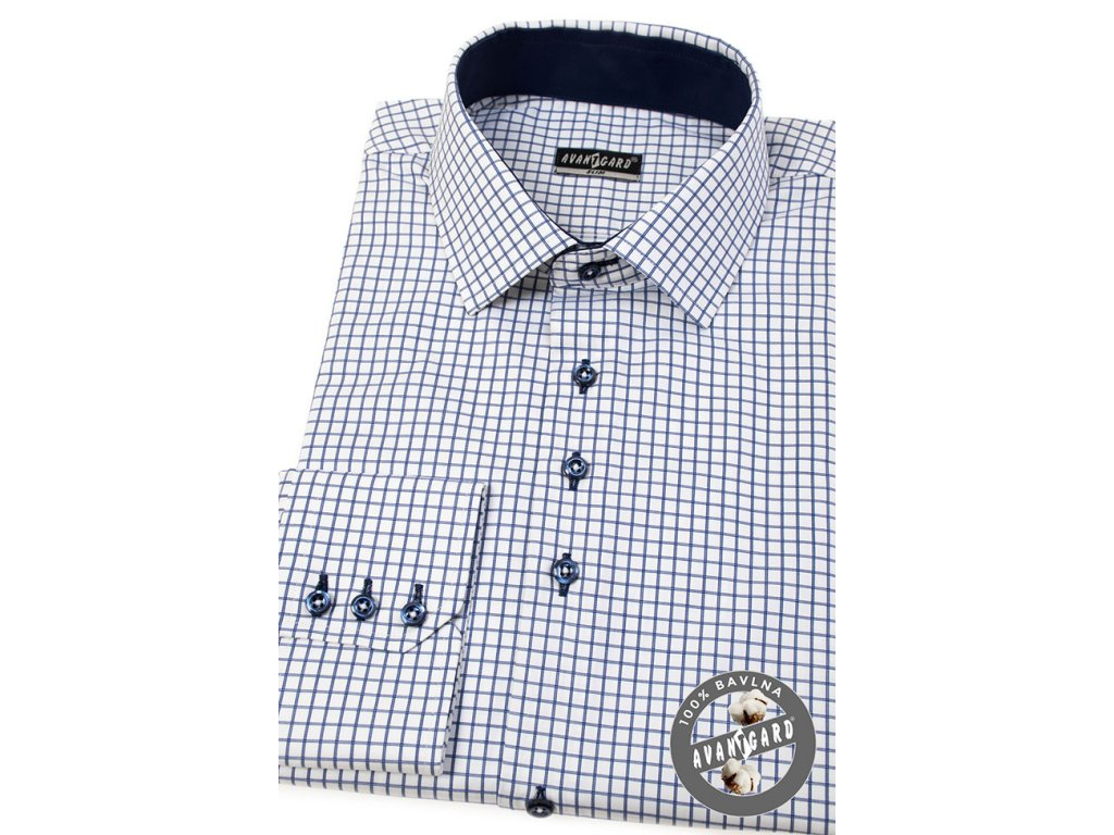 e7a6ec97f3b Bílá SLIM FIT košile s modrou mřížkou
