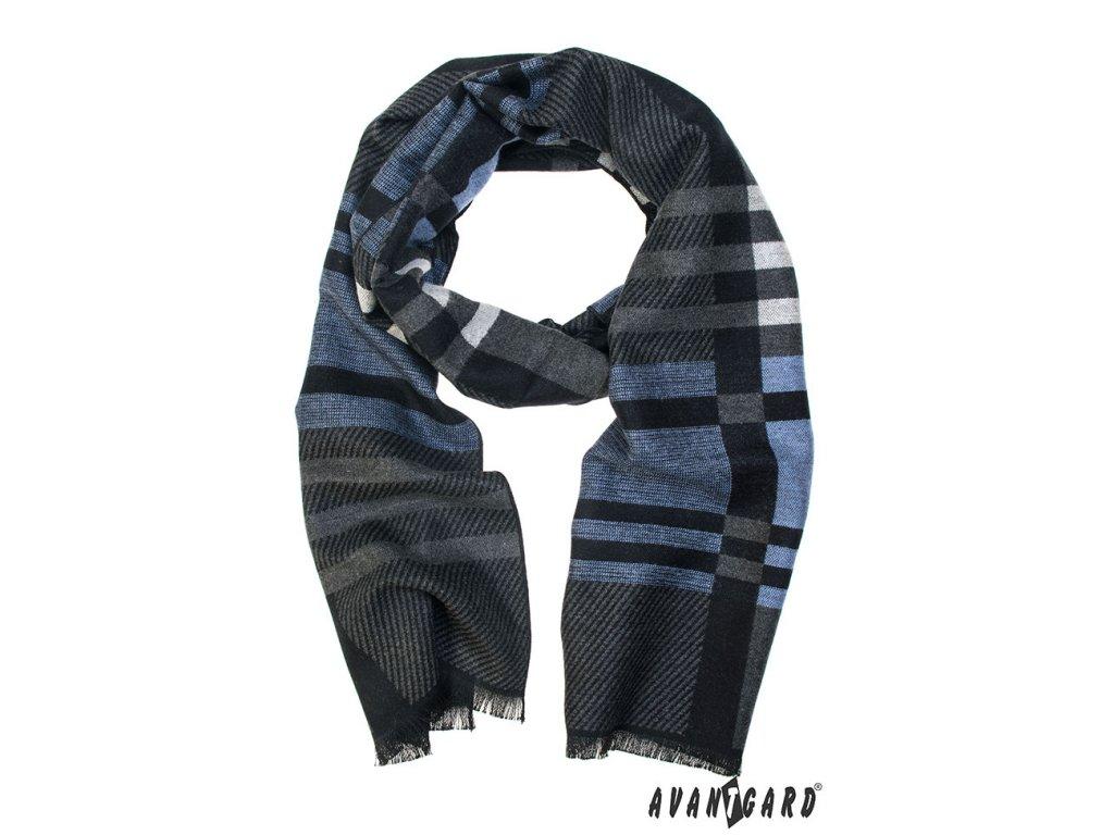 Tmavě šedá pruhovaná pánská šála s modrým detailem - vKosili.cz d1fb6b257c