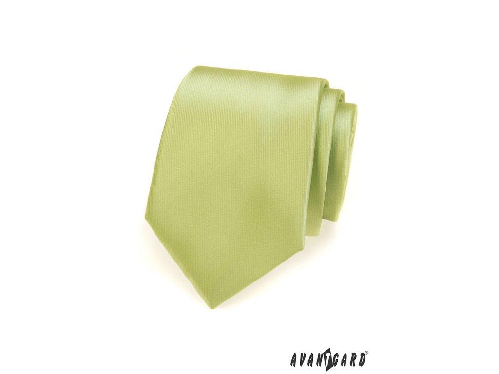 Velmi světle zelená jednobarevná jemně lesklá kravata - vKosili.cz cd153953cf