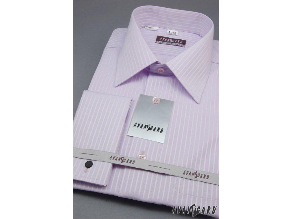 Pánská světle fialová luxusní košile s jemnými proužky na manžetové ... 61b997beee
