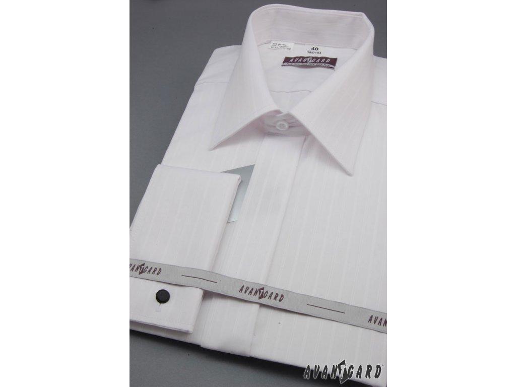 Pánská bílá svatební košile s jemnými proužky 9df5972b06