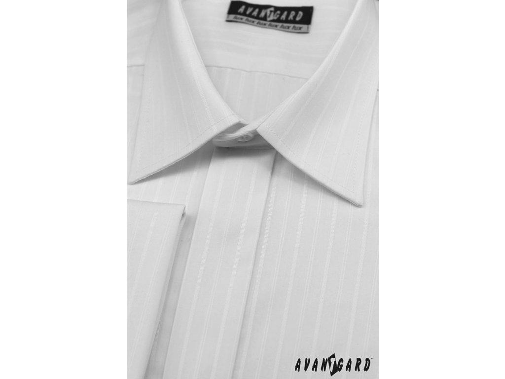 Pánská bílá svatební košile s jemnými proužky f009f60a5d