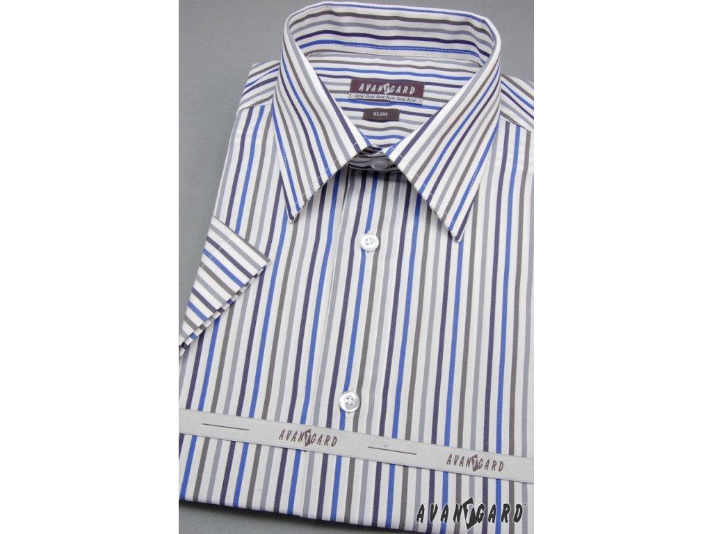 6ef804f58b0 Pánská bílá luxusní košile s barevnými pruhy SLIM FIT s krátkým rukávem  912-0122