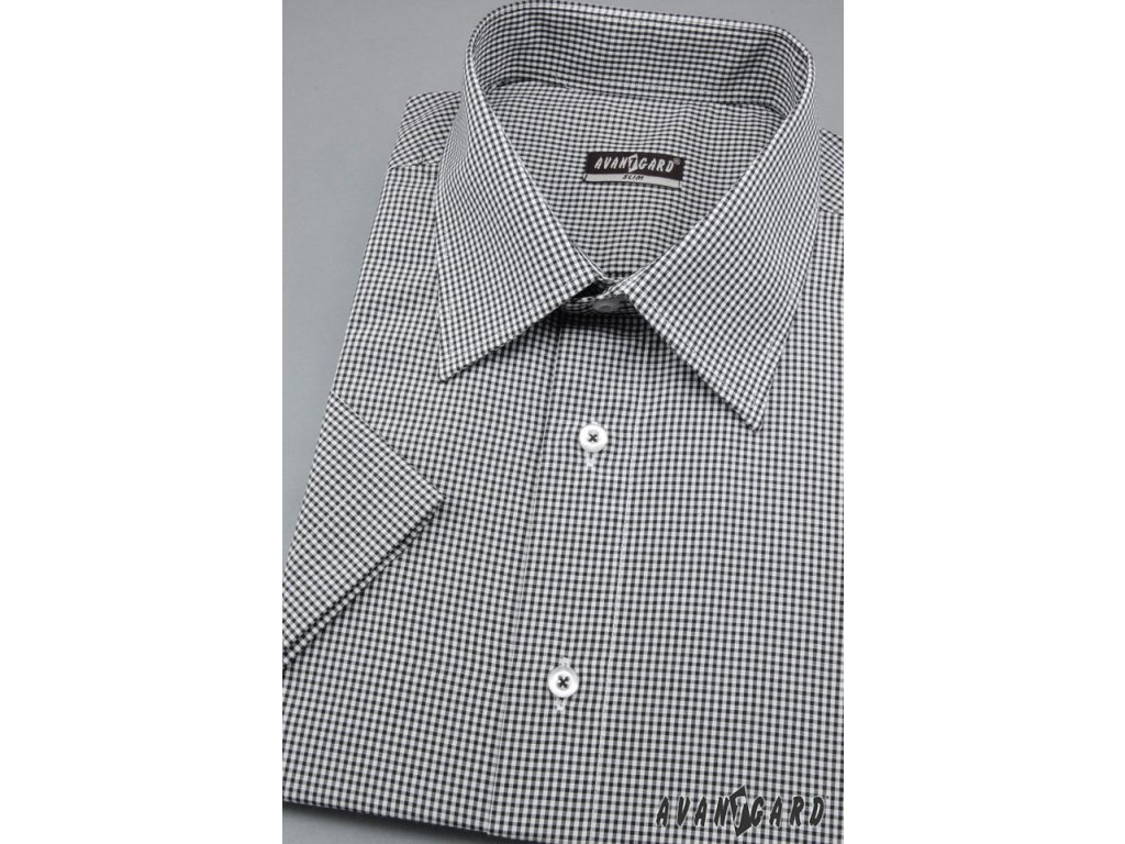 Pánská černá luxusní košile s jemným motivem SLIM FIT s krátkým ... 3e15deb059