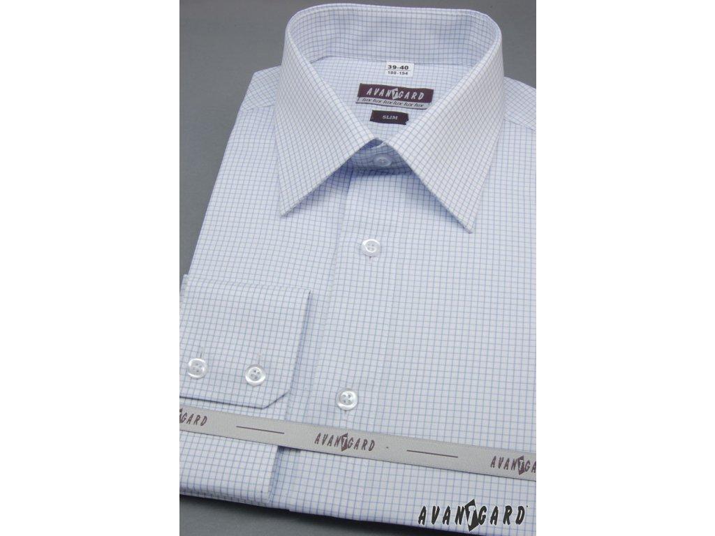 Pánská světle modrá luxusní košile s jemným motivem SLIM FIT dl ... 5a387dc24c