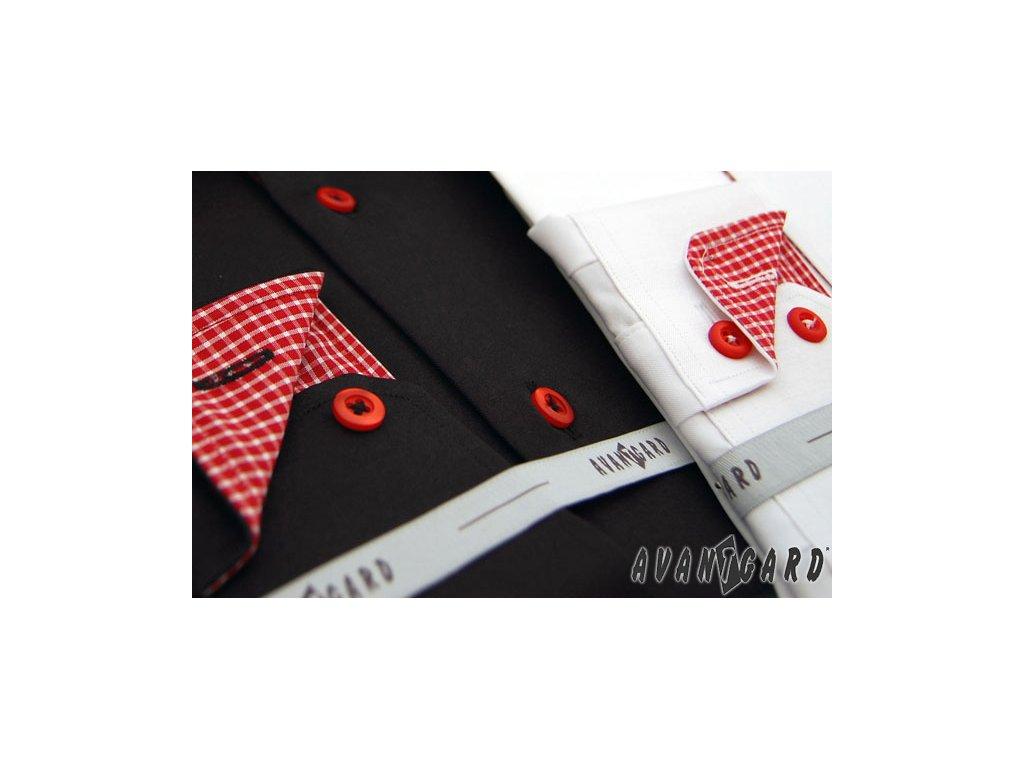997aaca4311 Pánská bílá luxusní košile s červenými knoflíky SLIM FIT dl. ruk ...