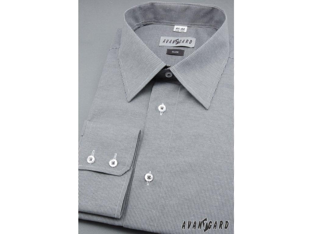 Pánská šedá košile s jemnými proužky SLIM FIT dl. ruk. 115-2101 ... b98bf374b4