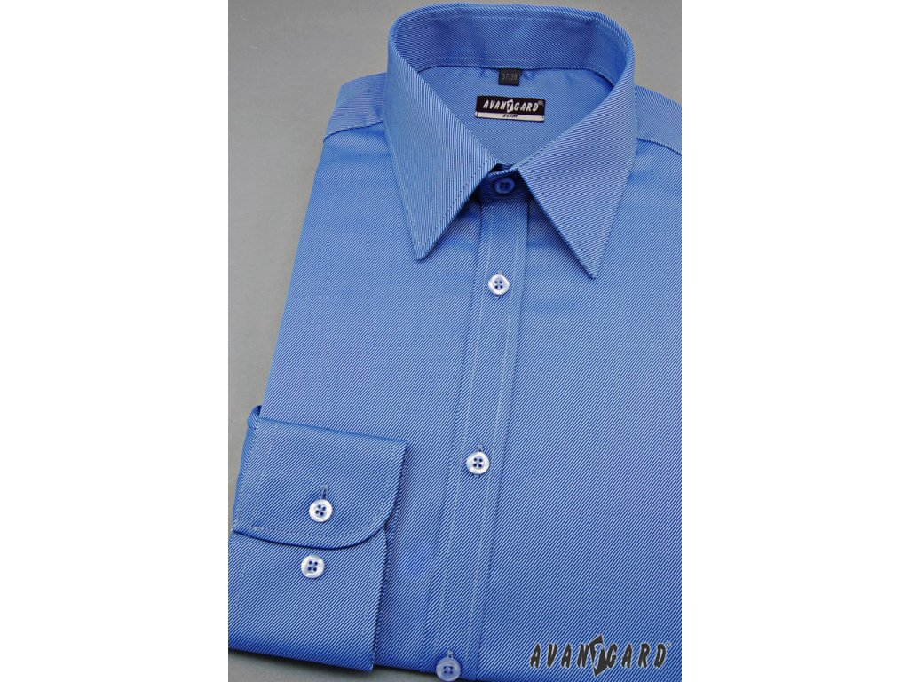 088c56d3ed4 Pánská modrá luxusní košile SLIM FIT dl.rukáv 113-06 - vKosili.cz