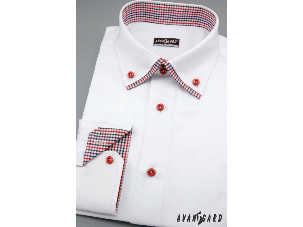 Pánská bílá luxusní košile s kombinovaným barevným límečkem SLIM FIT dl.  ruk. 1b24ca6933