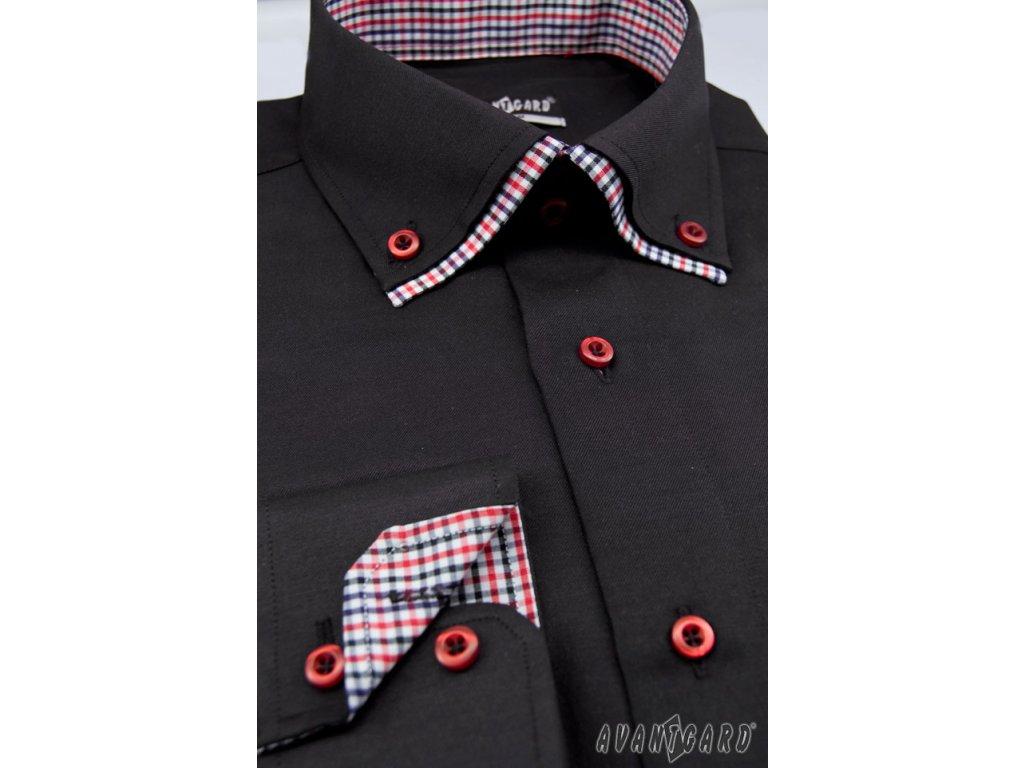 Pánská černá luxusní košile s kombinovaným barevným límcem SLIM FIT ... 176a6d6bc5