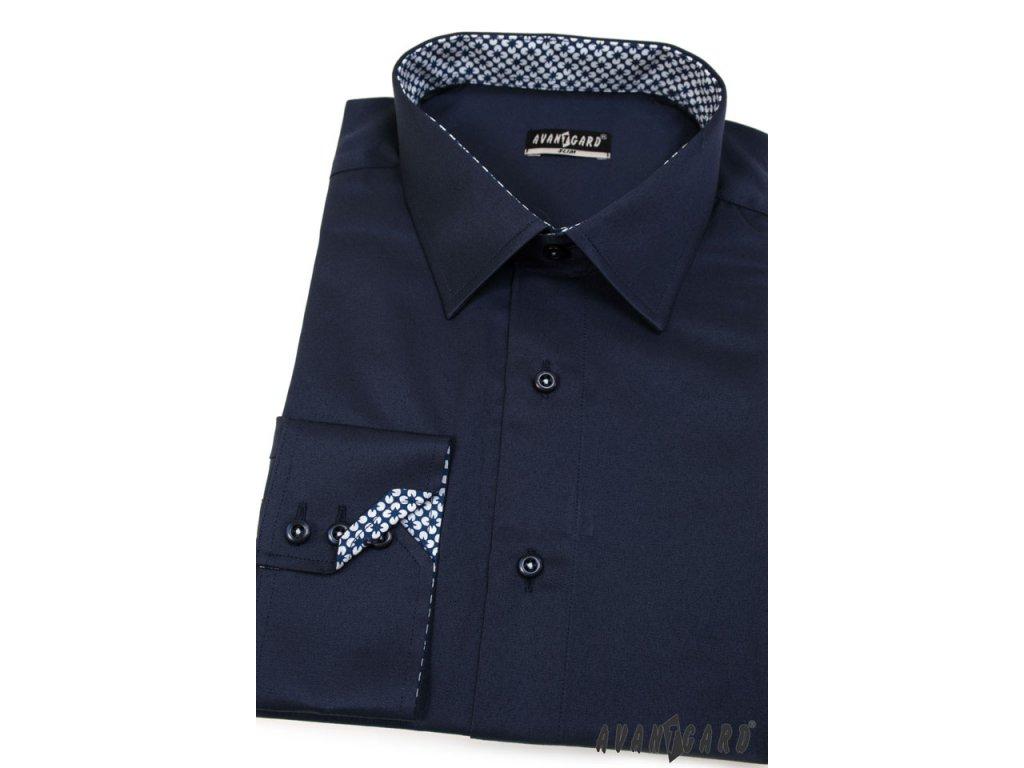 Pánská tm. modrá luxusní košile SLIM FIT dl. ruk. 125-3104 - vKosili.cz efd18356ba