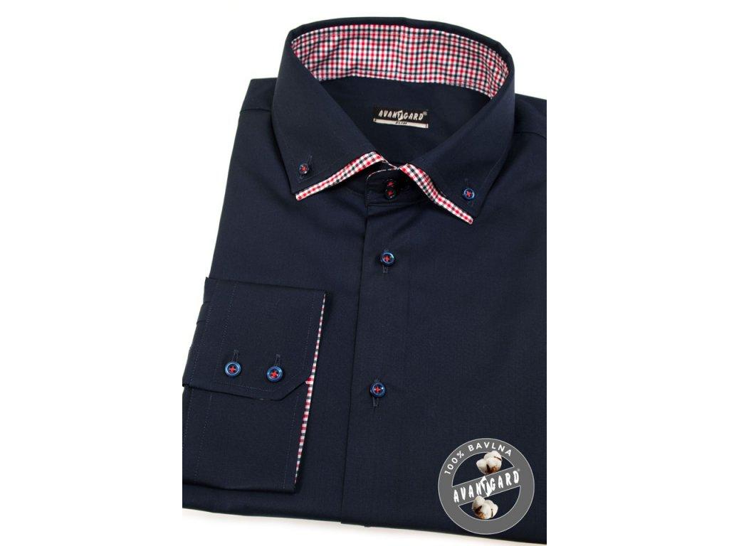 da1cd02918f Pánská tm. modrá luxusní košile s červeným kombinovaným límcem SLIM ...