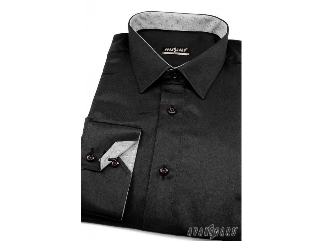 Pánská košile AVANTGARD SLIM dl. ruk. 125-2321 Černá (Barva Černá d94b0e495c
