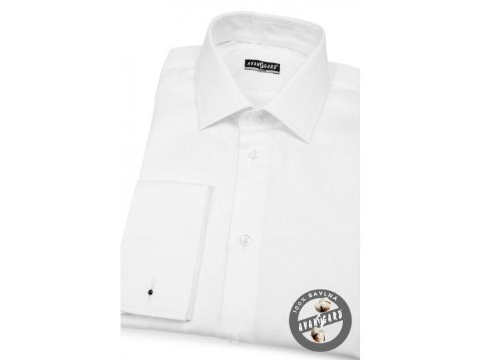 Bílá pánská SLIM košile na manžetové knoflíčky, 122-1_