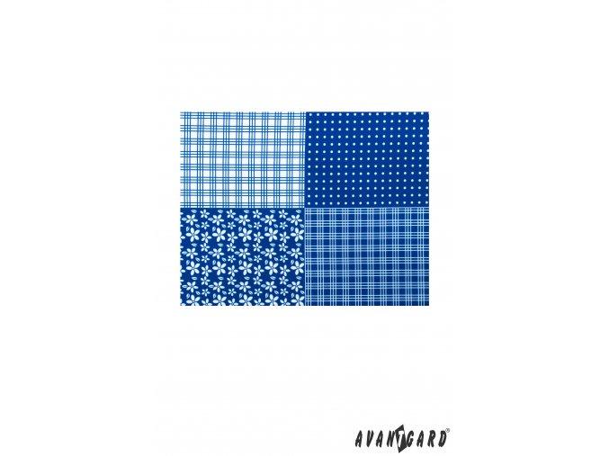Modrý kapesníček s bílým károvaným středem