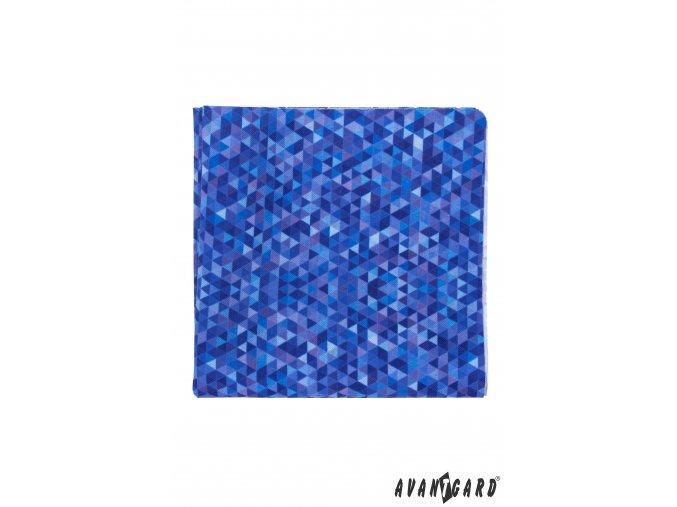 Zářivě modrý kapesníček s mozaikovým vzorem