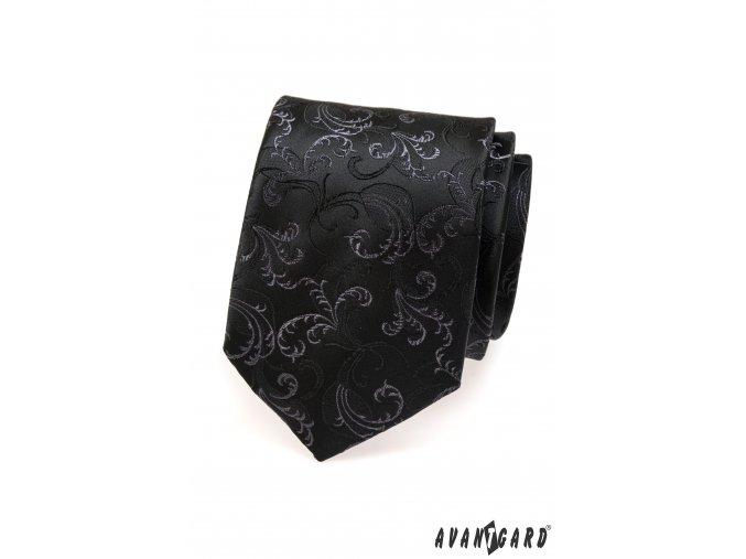 Černá luxusní kravata se vzorem