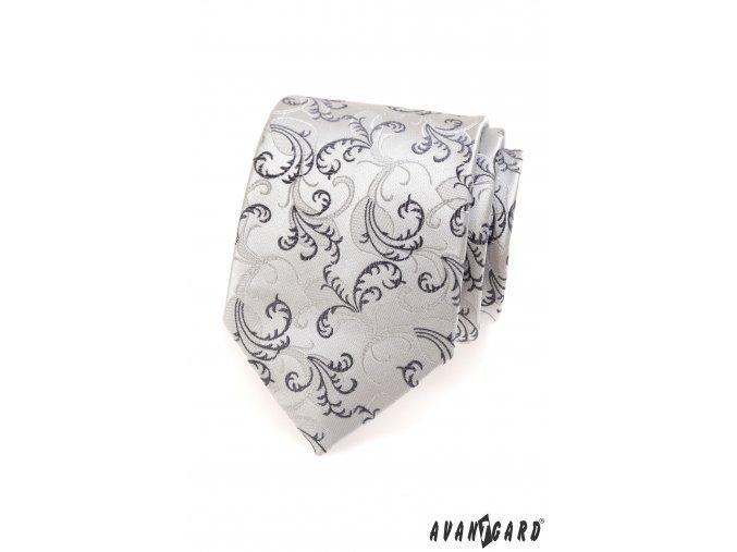 Šedá luxusní kravata se vzorem