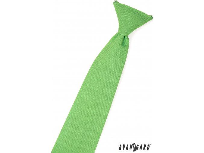 Zelená chlapecká kravata bez vzoru