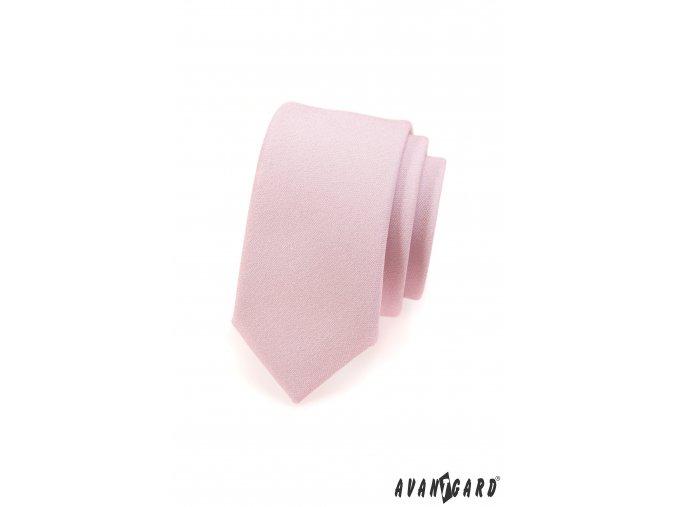 Velmi světle růžová slim kravata bez vzoru