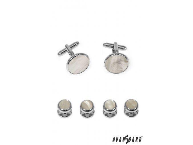 Stříbrné manžetové knoflíčky, do frakové košile, s perleťovým středem (sada)