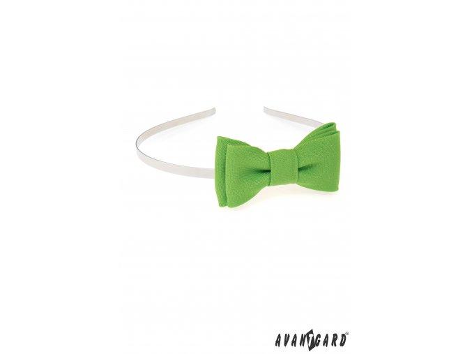Zelená jednobarevná čelenka s motýlkem