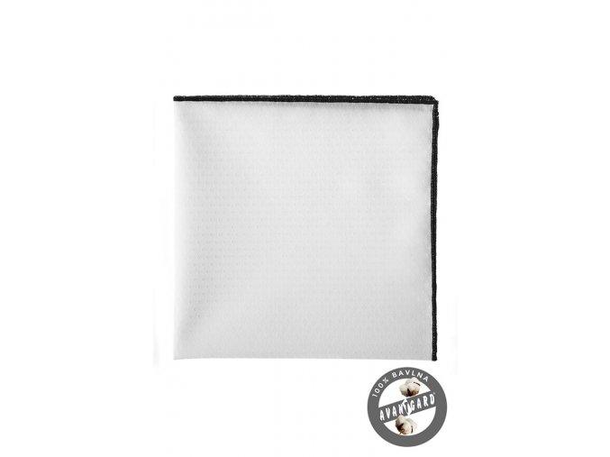 Bílý bavlněný kapesníček s tenkým černým okrajem