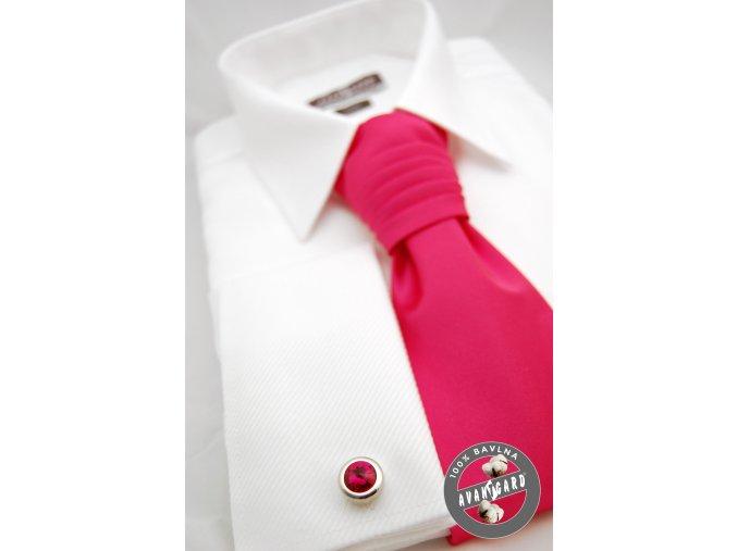 Bílá pánská slim fit košile s krytou légou na manžetové knoflíčky, 111-1
