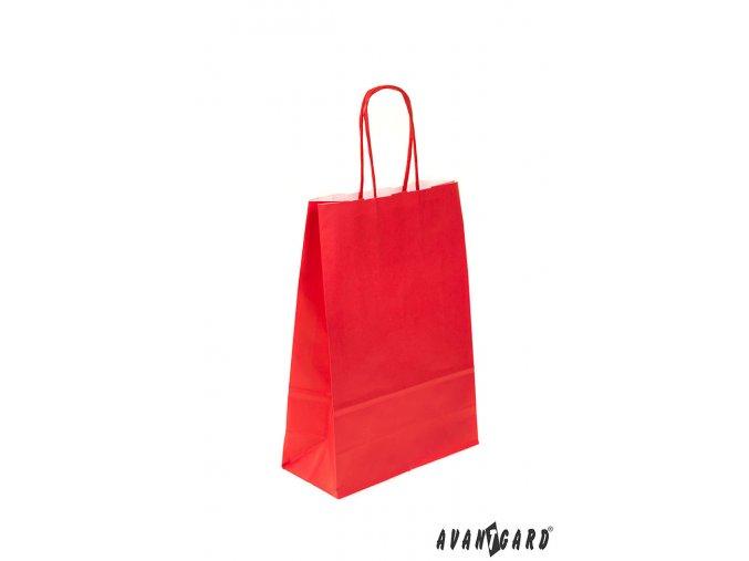 Zářivě červená papírová dárková taška_