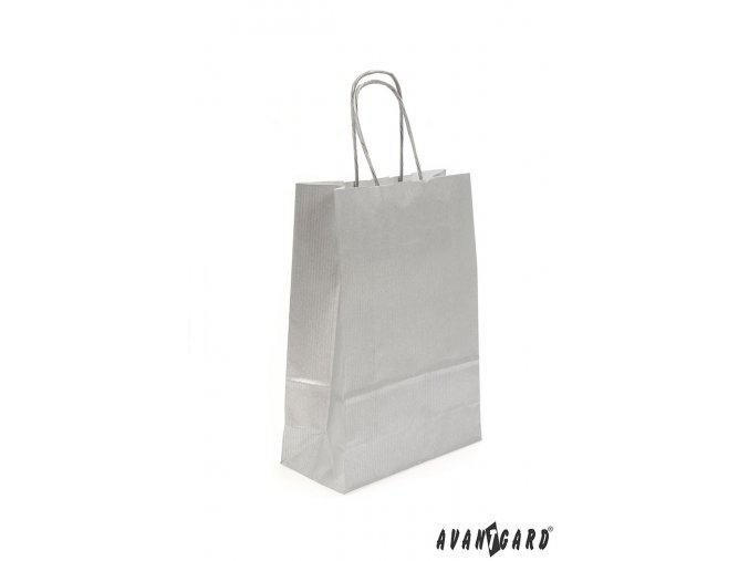Stříbrná papírová dárková taška_