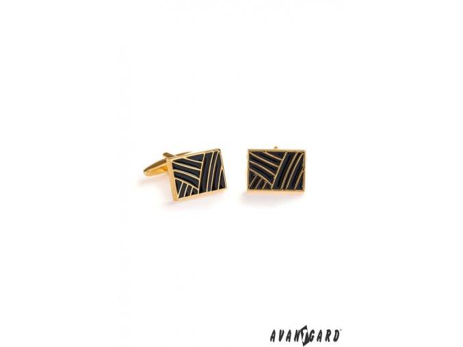 Zlaté lesklé manžetové knoflíčky s černým vzorem_
