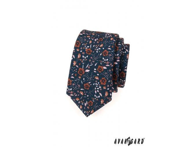 Tmavě modrá SLIM kravata s hnědým květinovým vzorem