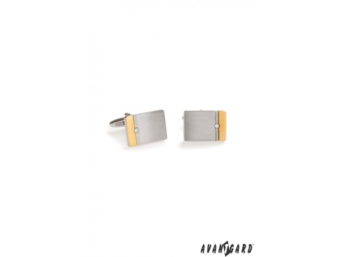 Stříbrné manžetové knoflíčky s kamínkem a zlatým detailem_