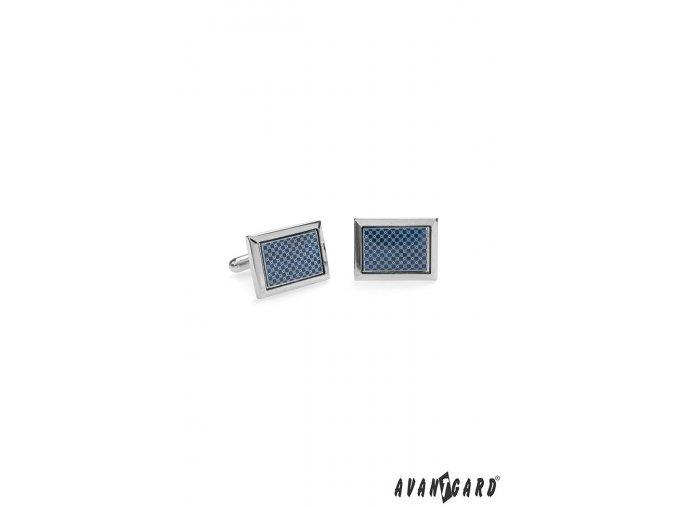 Stříbrné manžetové knoflíčky s modro-stříbrným vzorem_