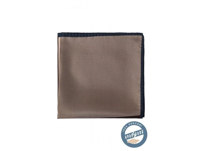 Hnědý hedvábný kapesníček s tmavým okrajem