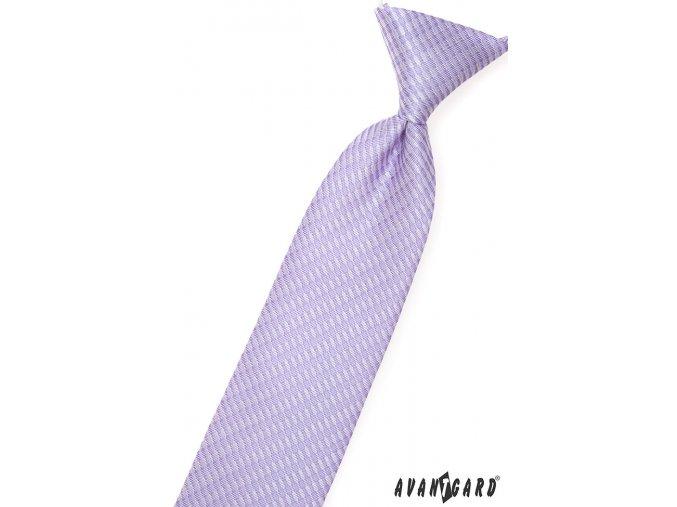 Lila dětská kravata se vzorem