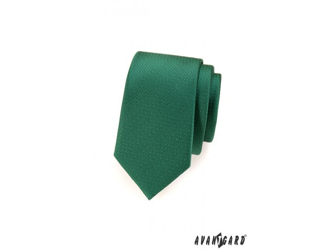 Zelená slim kravata s tečkovaným vzorem stejné barvy