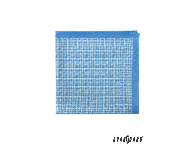 Světle modrý kapesníček s jemným bílým vzorem
