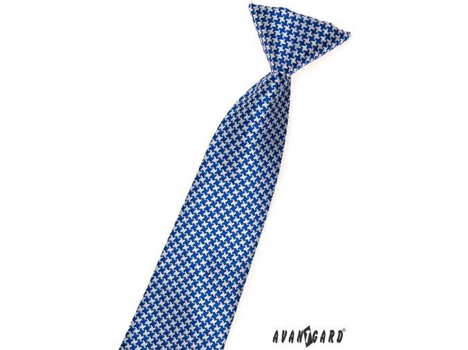 Modrá chlapecká kravata s bílým křížkovým vzorem