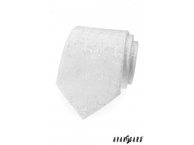 Bílá kravata se vzorem stejné barvy