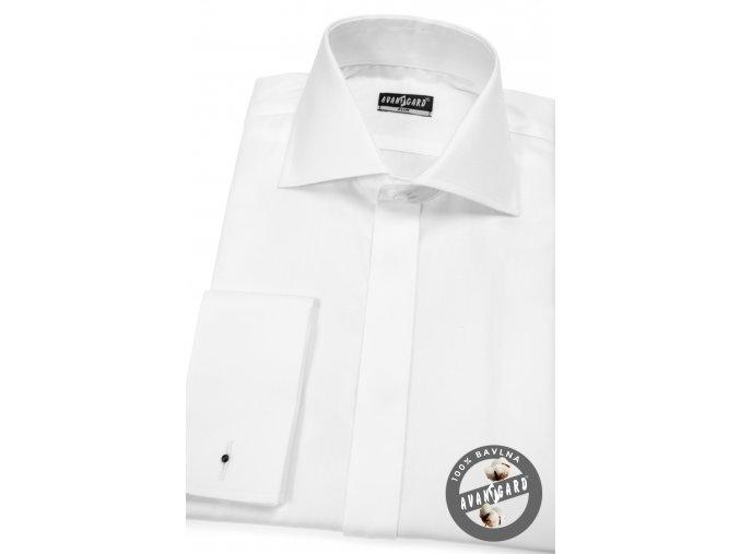 Bílá pánská SLIM FIT košile na manžetové knoflíčky, krytá léga, 110-156
