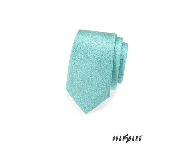 Tyrkysová jednobarevná slim kravata