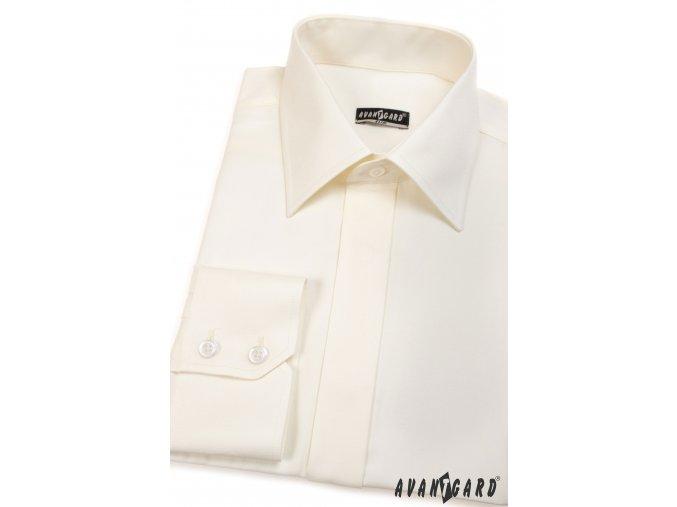 Pánská smetanová košile SLIM FIT krytá léga 162-2