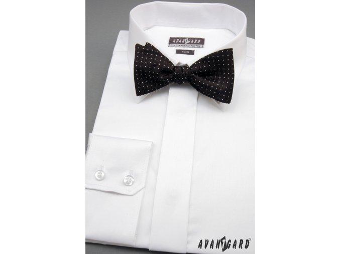 Pánská bílá košile SLIM FIT krytá léga (162-1)