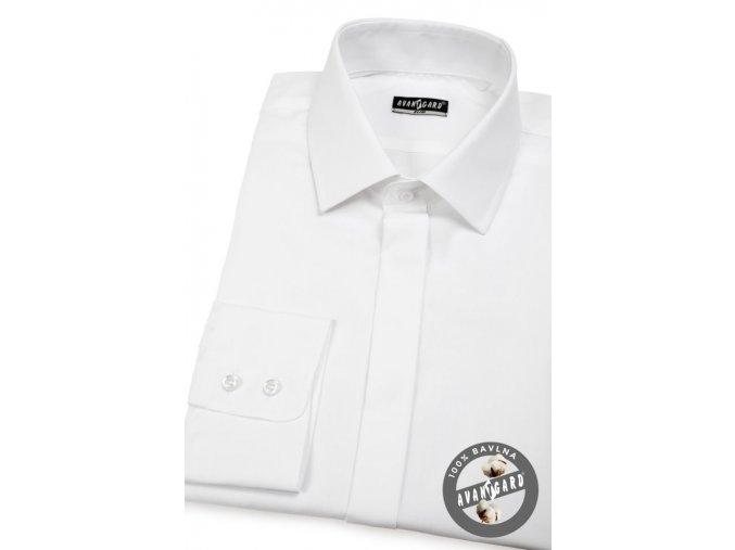Pánská košile SLIM kr.léga 132-001 Bílá (Barva Bílá, Velikost 45/182, Materiál 100% bavlna)